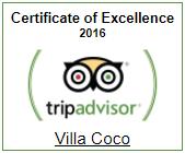 Villa Coco Certificate of Excellence 2016